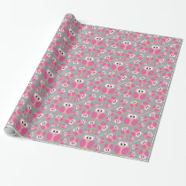 Cute Cartoon Owl - Pink and Gray Custom Name Wrapping Paper
