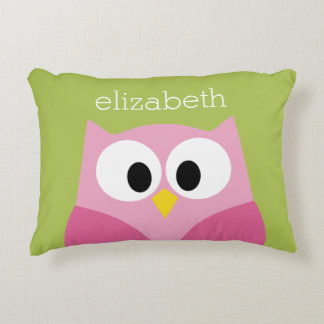 Cute Cartoon Owl - Pink and Lime Green Accent Pillow