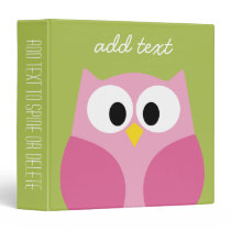 Cute Cartoon Owl - Pink and Lime Green Binder