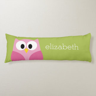 Cute Cartoon Owl - Pink and Lime Green Body Pillow