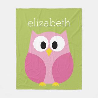 Cute Cartoon Owl - Pink and Lime Green Fleece Blanket
