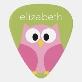 Cute Cartoon Owl - Pink and Lime Green Guitar Pick