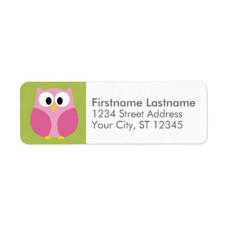 Cute Cartoon Owl - Pink and Lime Green Label