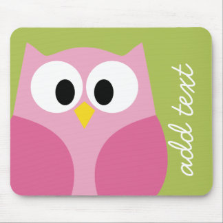 Cute Cartoon Owl - Pink and Lime Green Mouse Pad