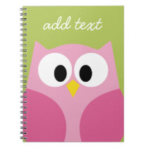 Cute Cartoon Owl - Pink and Lime Green Notebook