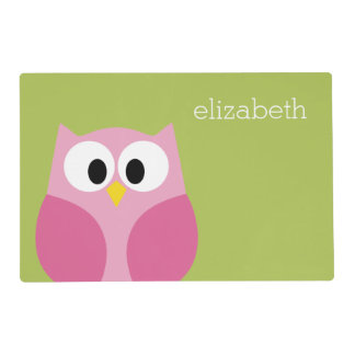 Cute Cartoon Owl - Pink and Lime Green Placemat