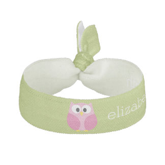 Cute Cartoon Owl - Pink and Lime Green Ribbon Hair Tie