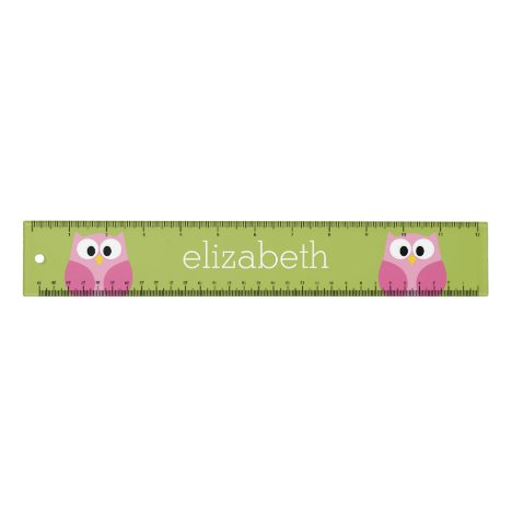 Cute Cartoon Owl - Pink and Lime Green Ruler