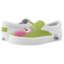 Cute Cartoon Owl - Pink and Lime Green Slip-On Sneakers