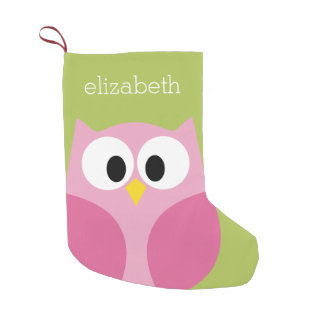 Cute Cartoon Owl - Pink and Lime Green Small Christmas Stocking
