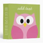 Cute Cartoon Owl - Pink and Lime Green Vinyl Binder