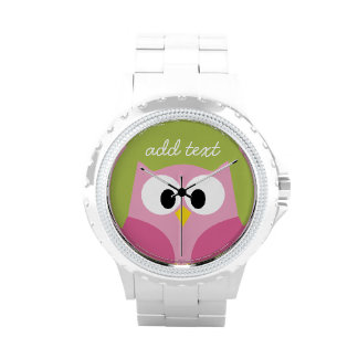 Cute Cartoon Owl - Pink and Lime Green Watches
