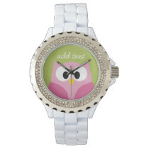 Cute Cartoon Owl - Pink and Lime Green Watch