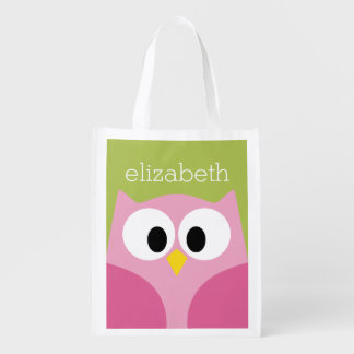 Cute Cartoon Owl - Pink and Lime Green Reusable Grocery Bags