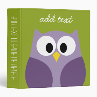 Cute Cartoon Owl Purple and Pistachio Custom Name Binder
