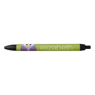 Cute Cartoon Owl Purple and Pistachio Custom Name Black Ink Pen