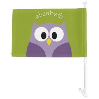 Cute Cartoon Owl Purple and Pistachio Custom Name Car Flag
