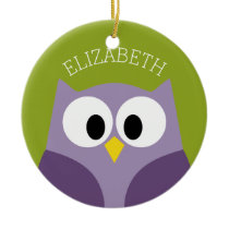 Cute Cartoon Owl Purple and Pistachio Custom Name Ceramic Ornament