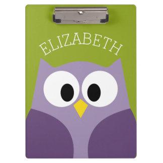 Cute Cartoon Owl Purple and Pistachio Custom Name Clipboard