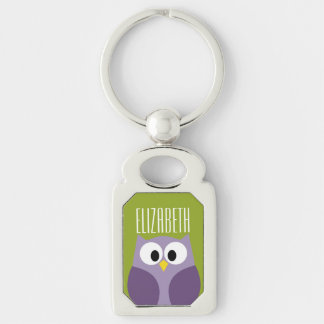 Cute Cartoon Owl Purple and Pistachio Custom Name Keychain