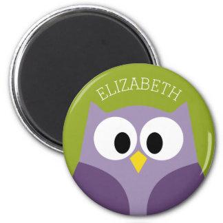Cute Cartoon Owl Purple and Pistachio Custom Name Magnet