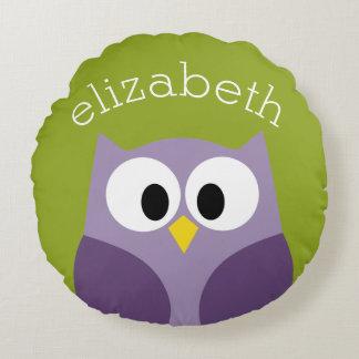 Cute Cartoon Owl Purple and Pistachio Custom Name Round Pillow