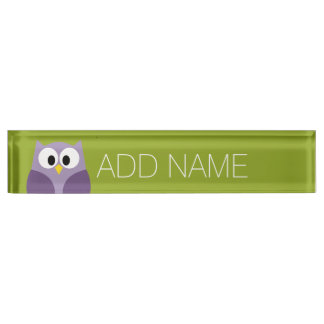 Cute Cartoon Owl Purple and Pistachio Custom Name Nameplate