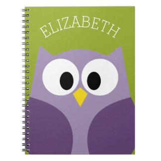 Cute Cartoon Owl Purple and Pistachio Custom Name Notebook