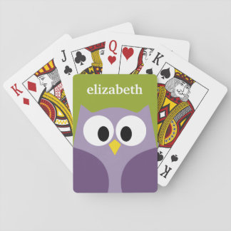 Cute Cartoon Owl Purple and Pistachio Custom Name Playing Cards