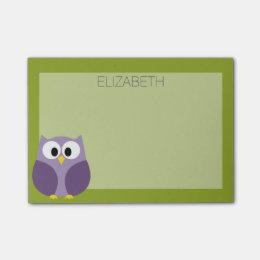 Cute Cartoon Owl Purple and Pistachio Custom Name Post-it Notes