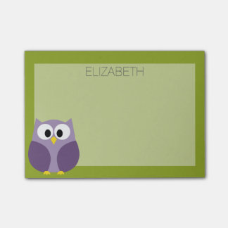 Cute Cartoon Owl Purple and Pistachio Custom Name Post-it Notes