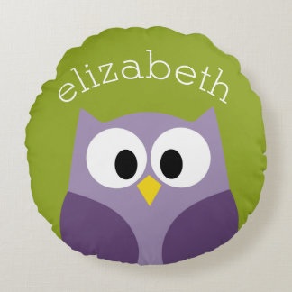 Cute Cartoon Owl Purple and Pistachio Custom Name Round Pillow