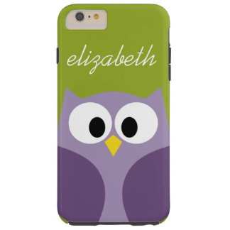 Cute Cartoon Owl Purple and Pistachio Custom Name Tough iPhone 6 Plus Case