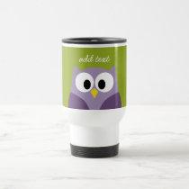 Cute Cartoon Owl Purple and Pistachio Custom Name Travel Mug