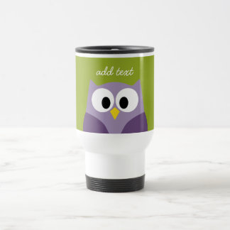 Cute Cartoon Owl Purple and Pistachio Custom Name Travel Mug