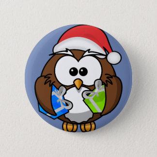 Cute Cartoon Owl Purple Badge Button