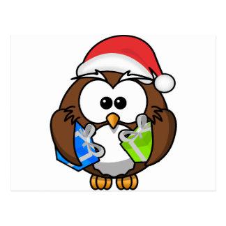 Cute Cartoon Owl Santa Claus Postcards