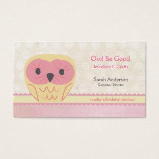 Cute Cartoon Owl Shabby Chic Pink Business Card