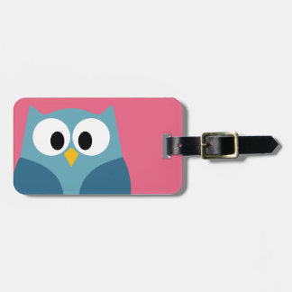 Cute Cartoon Owl with Address and Phone Number Luggage Tag