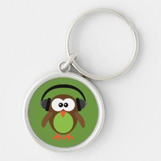 Cute Cartoon Owl With Headphones Key Chains