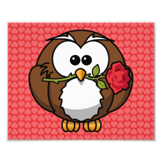 Cute Cartoon Owl With Rose and Hearts Photo