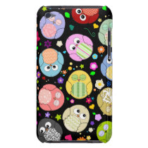 Cute Cartoon Owls and Flowers Design Barely There iPod Case