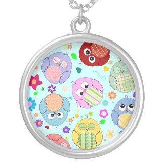 Cute Cartoon Owls and Flowers Design Pendant