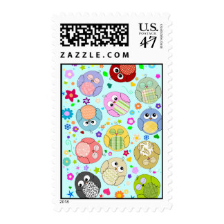 Cute Cartoon Owls and Flowers Design Postage