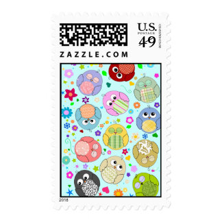 Cute Cartoon Owls and Flowers Design Stamp