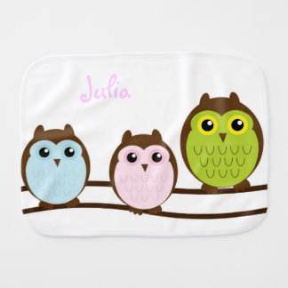 Cute Cartoon Owls Baby Burp Cloth