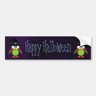 Cute Cartoon Owls Happy Halloween Magical Sky Bumper Sticker
