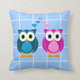 Cute Cartoon Owls in Love Reversible Pillow