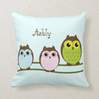 Cute Cartoon Owls Personalized Throw Pillow