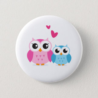 Cute cartoon owls with hearts button